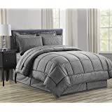 Celine Linen Luxury 8-PIECE Bed-in-a-Bag Comforter Set including Sheet Set! Wrinkle Free - Silky Soft Beautiful Pattern Complete Bed-in-a-Bag 8-Piece Comforter Set -HypoAllergenic- Full/Queen, Gray