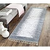 "Safavieh Montauk Collection MTK711G Handmade Flatweave Ivory and Grey Cotton Runner (2'3"" x 6')"