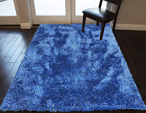 Electro Blue Color 5×7 Feet Solid Pile Plush Soft Shag Shaggy Fluffy Fuzzy Furry Hand-Woven Decorative Designer Modern Contemporary Indoor Bedroom Living Room Office Space Area Rug Carpet Rug