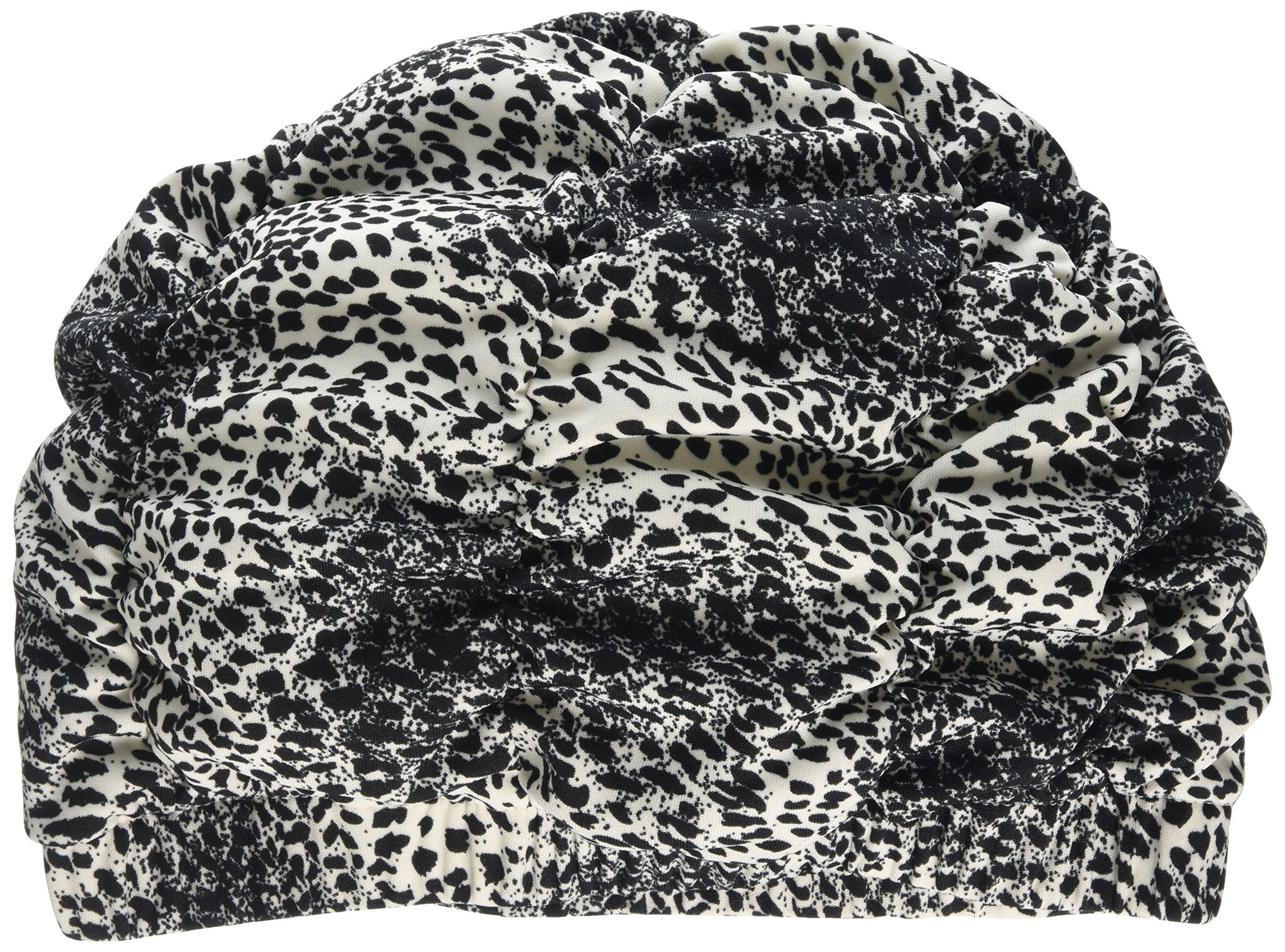 Ladies Black & White Animal Print Shower Cap Shower Hat Fashy Traditional Style