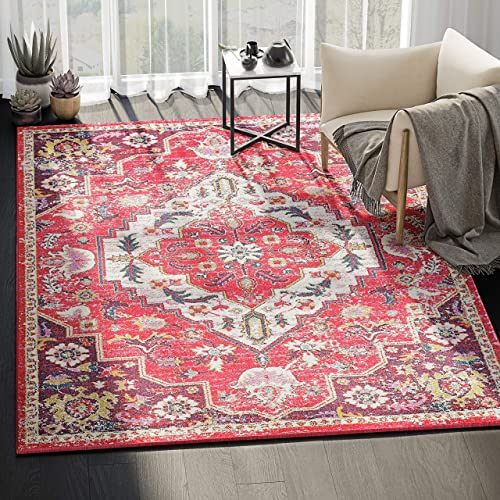 Abani Rugs Large Fuschia Ivory Bold Vintage Medallion Area Rug Traditional Style Accent, Catalina Collection Turkish Made Superior Comfort Construction Stain Shedding Resistant, 8 x 10 feet