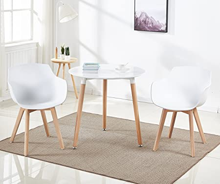 DORAFAIR Pack de 2 Sillón Tower Blanca Silla de Comedor Silla Escandinava,Pata Madera de Haya, Estilo Nórdico - Blanco
