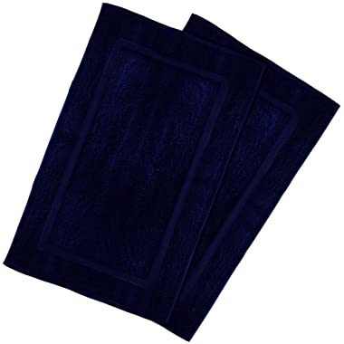 Utopia Towels 21-Inch-by-34-Inch Washable Cotton Banded Bath Mat, 2 Pack, Navy Blue