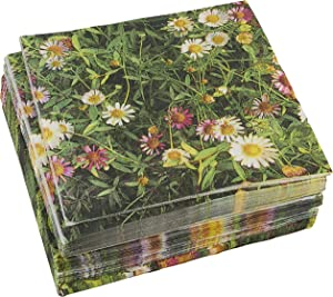 Daisy Floral Field Paper Napkins for Birthday Party (6.5 x 6.5 In, 100 Pack)