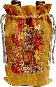 3dRose Beverly Turner Autumn Design - Owl Sitting on Pumpkin, Leaves, Acorns, Apple, and Berries - Wine Bag (wbg_301978_1)