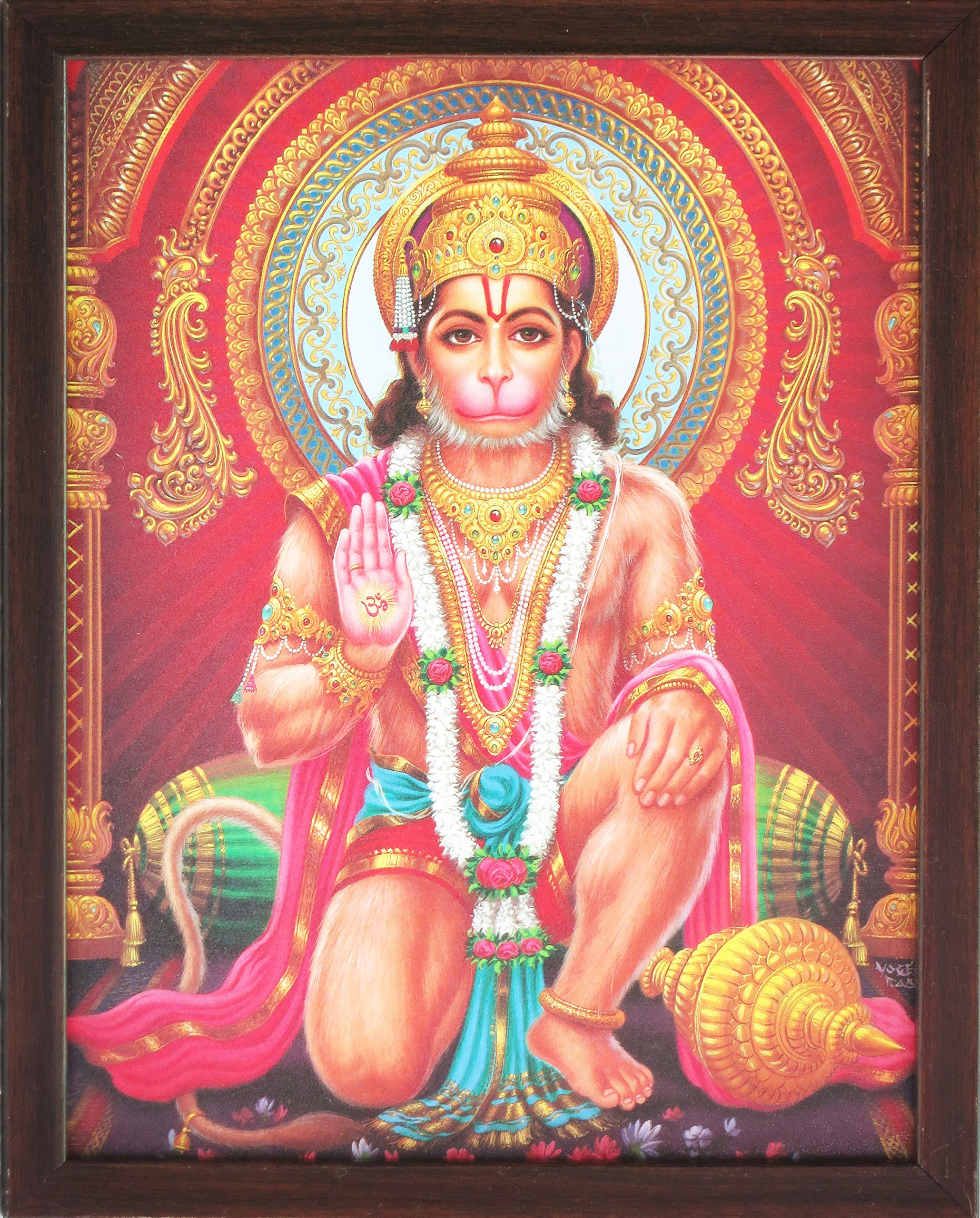 Handicraft Store Hanuman Giving Blessings, a Holy Hindu Religious Poster Painting with Frame for Worship Purpose