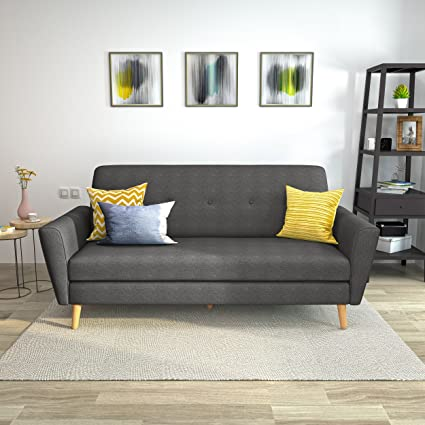 Christopher Knight Home 304455 Gretchen Mid Century Fabric Couch Dark Grey/Natural