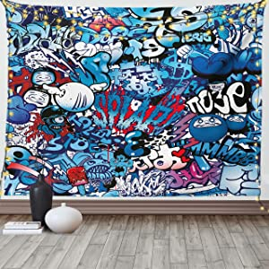 Ambesonne Modern Tapestry, Teenager Style Image Street Wall Graffiti Graphic Colorful Design Artwork Print, Wide Wall Hanging for Bedroom Living Room Dorm, 60