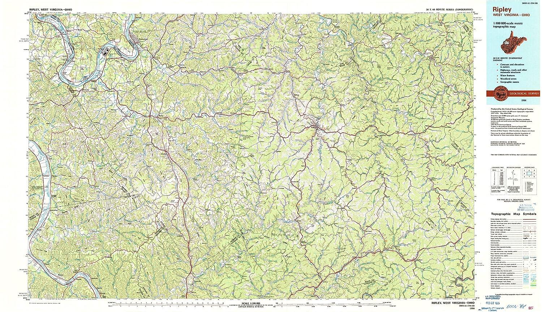 Ripley Ohio Map.Amazon Com Yellowmaps Ripley Wv Topo Map 1 100000 Scale 30 X 60