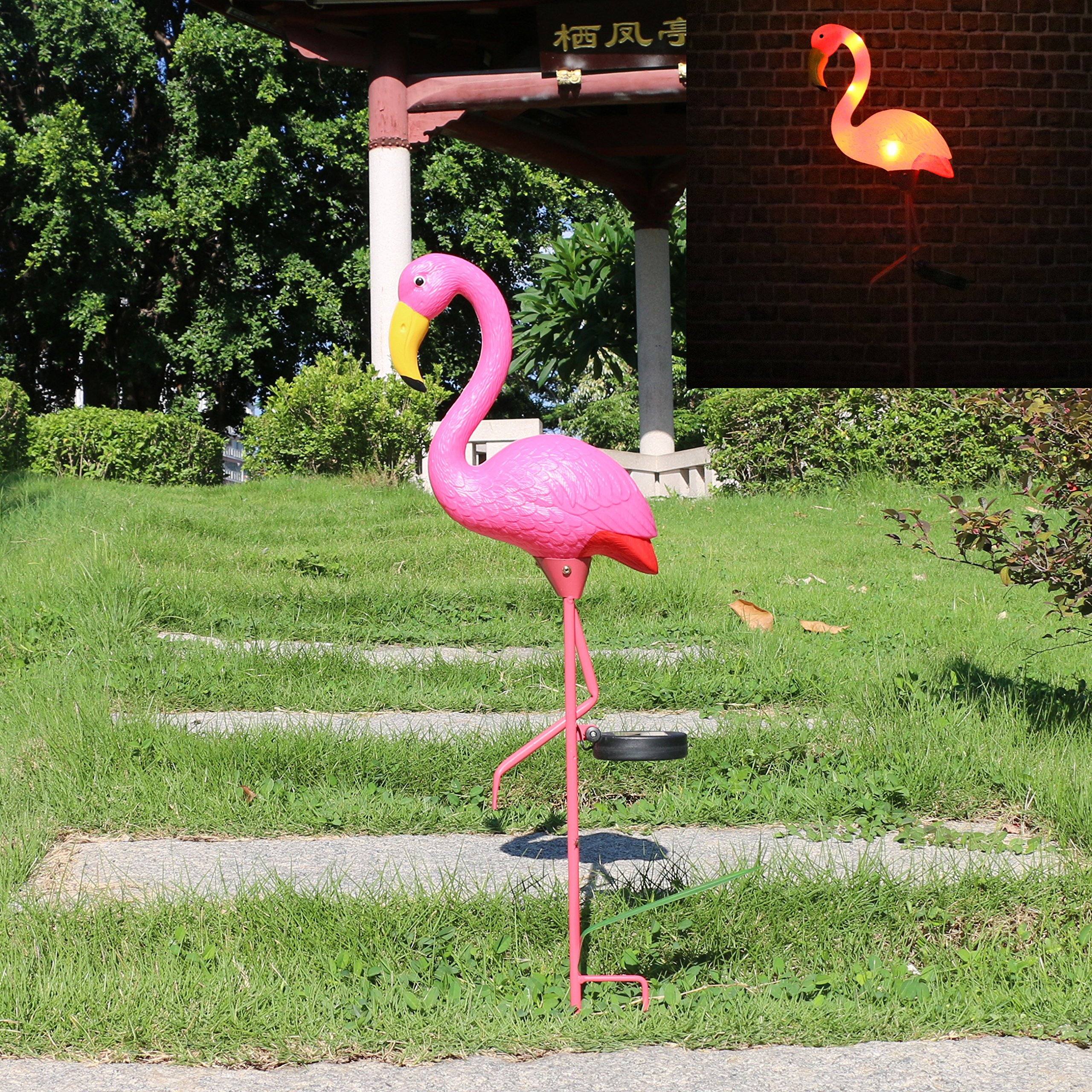 W-DIAN Solar Lights, For Outdoor Pathway metal yard art plastic metals Pink FLAMINGO Patio, Path, Lawn, Garden, Yard Decor,Outside Post Lighting Lamps Original Featherstone Flamingo's by W-DIAN