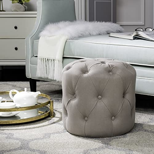 Safavieh Home Collection Ponzi Taupe Tufted Round Ottoman