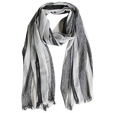 FERETI Echarpe Homme Noir Blanc Rayures Léger Fine Avec Lignes Zebre Foulard  Stripes Chale Mode Clair b85282ba533