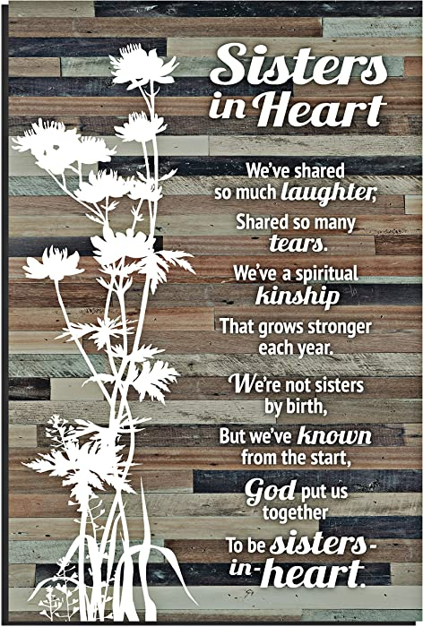 "Sisters in Heart Wood Plaque with Inspiring Quotes 6x9 Inch - Classy Rustic Vertical Frame Wall and Tabletop Decoration with Easel & Hanging Hook | ""Sisters in Heart We've Shared so Much Laughter""..."