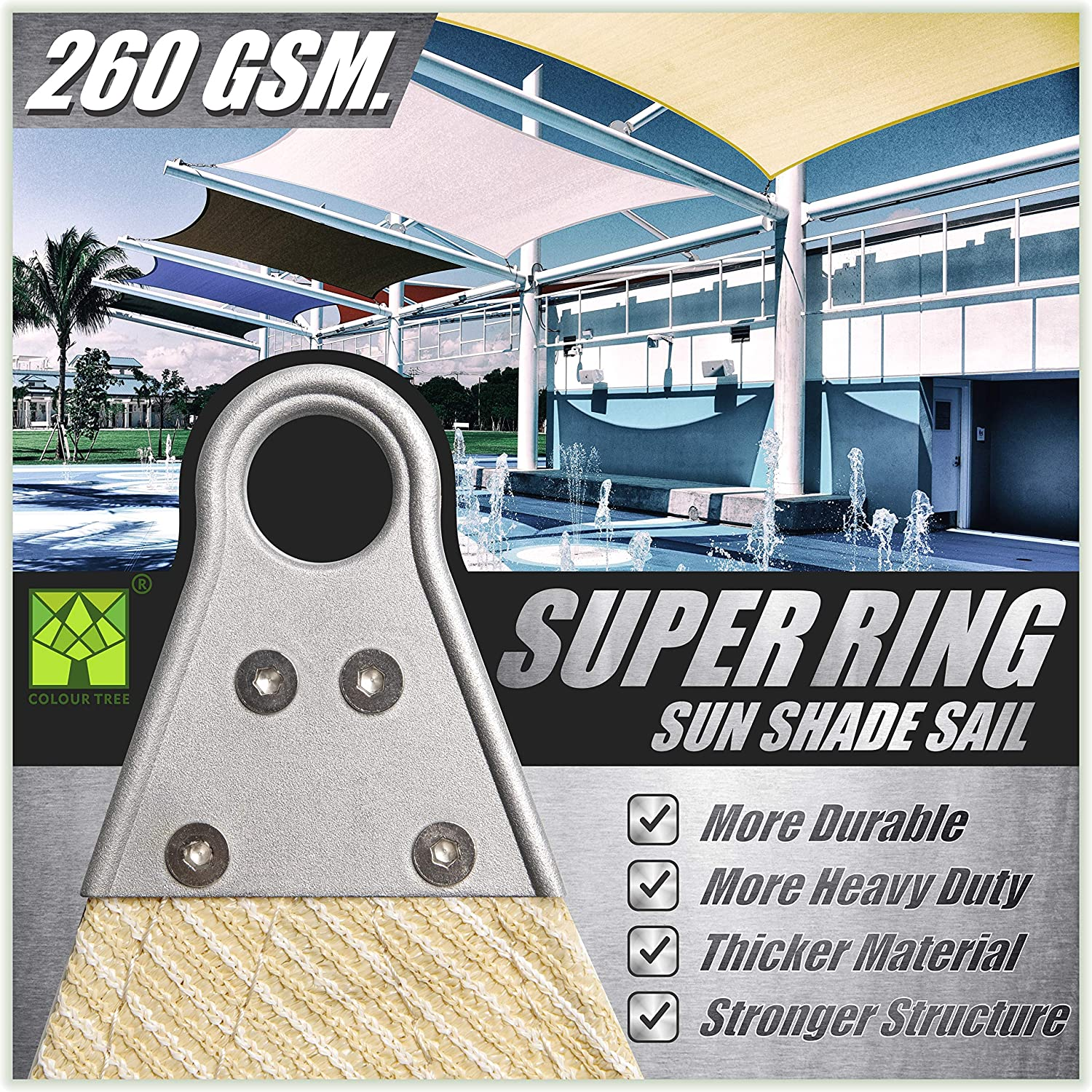 ColourTree 28' x 28' x 28' Beige Triangle Super Ring Sun Shade Sail Canopy Structure, Super Durable Heavy Duty, Reinforced Corners, Edges & 260 GSM Permeable Fabric