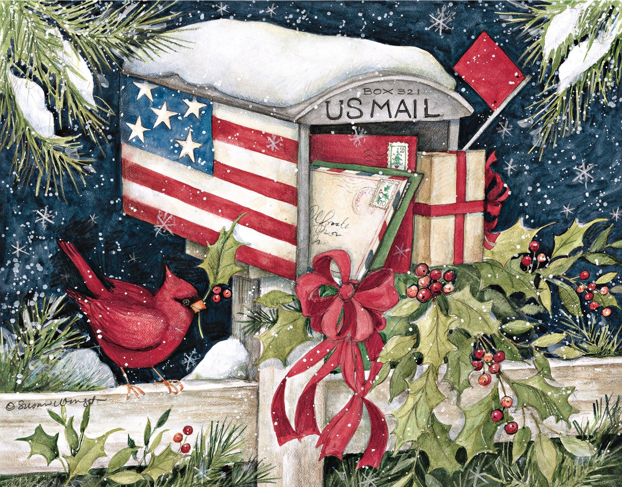 Amazon.com: Patriotic Christmas Card - 18 Cards & Envelopes ...