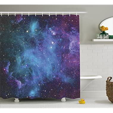 Ambesonne Space Decorations Shower Curtain Set, Galaxy Stars in Space Celestial Astronomic Planets in The Universe Milky Way Print, Bathroom Accessories, 69W X 70L Inches, Navy Purple