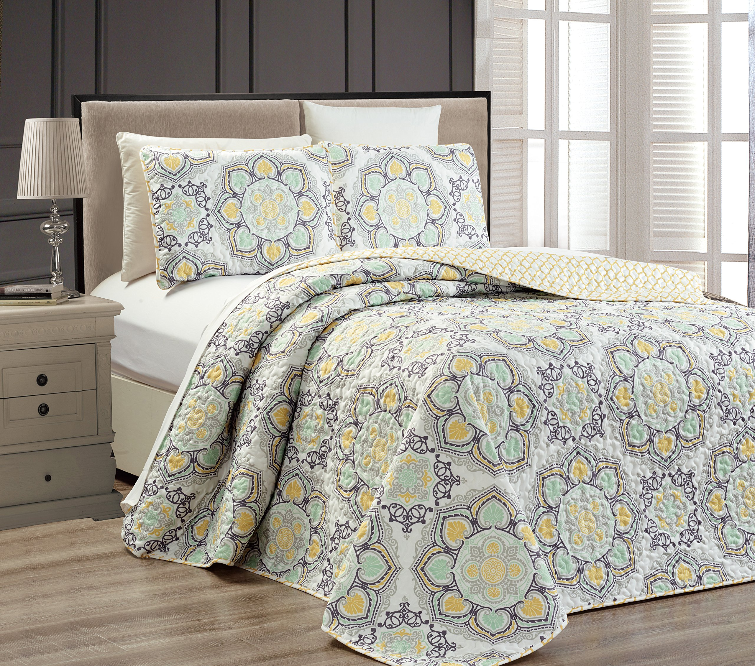 Fancy Collection 3 pc Bedspread Bed Cover Modern Reversible White Yellow Green Grey New #Linda Yellow Full/Queen Over size 106''x 95''