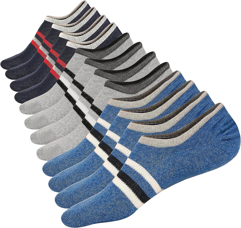 Low Cut No Show Socks Mens Casual Invisible Cotton Non-Slip Durable Socks S/M/L