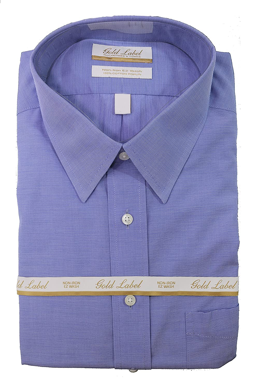 Gold Label Roundtree /& Yorke Iron Regular Full-Fit Point Collar Dress Shirt Med Blue S65DG062