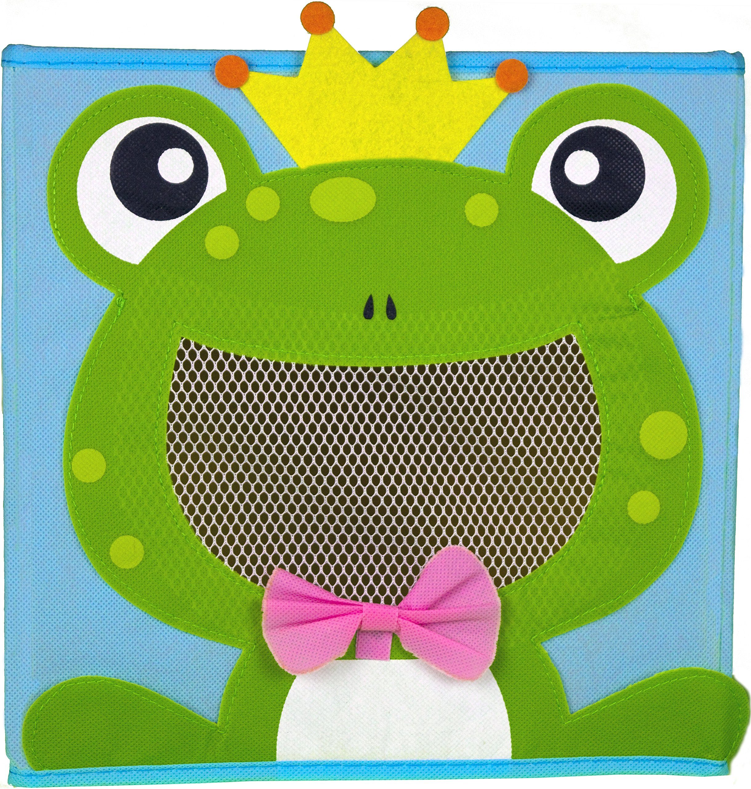 Cute Collapsible Storage Bins w/ View Window- Foldable cubes - 11x11 in. Folding Box (FROG)