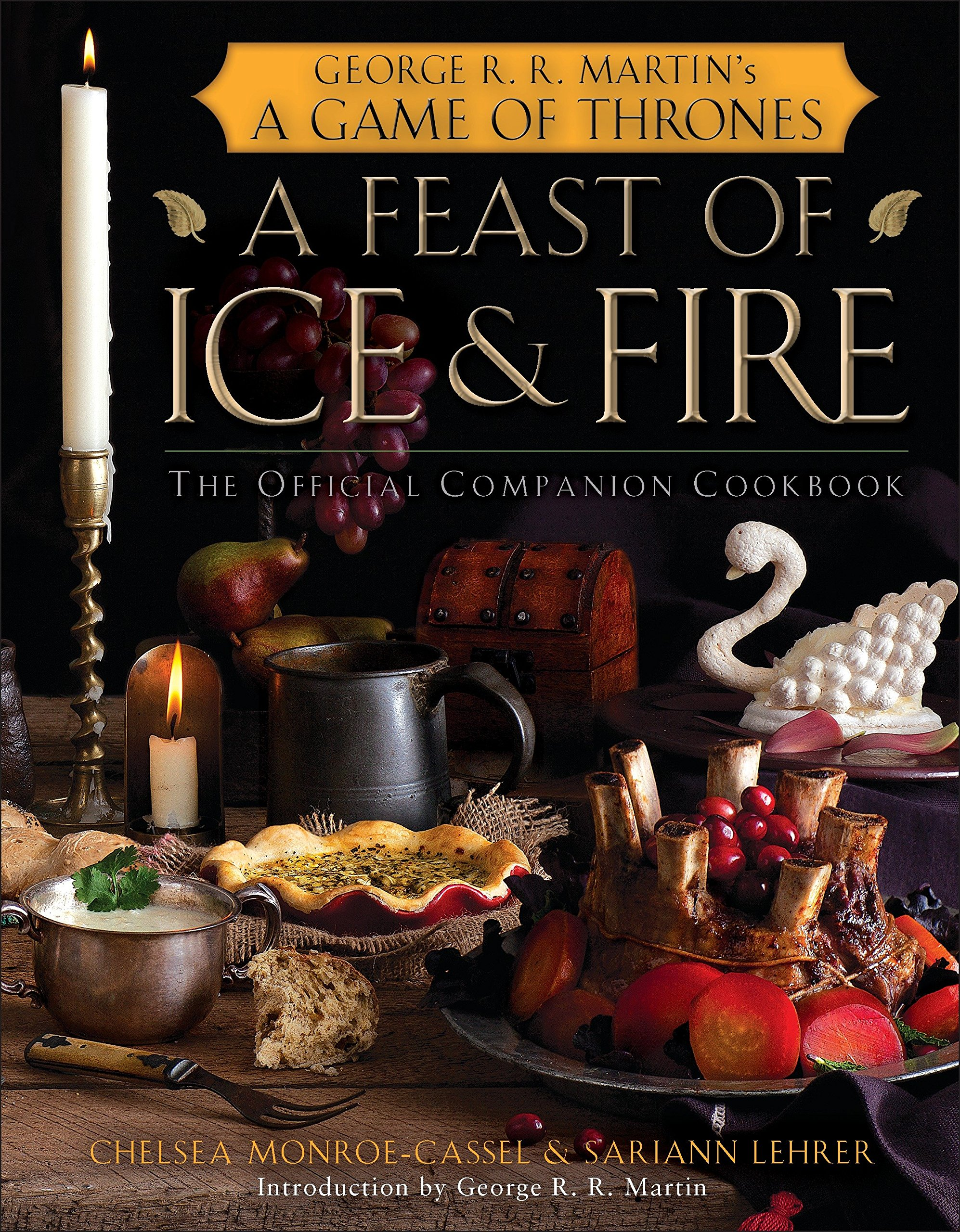 "An image of ""A Feast of Ice & fire"" Game of Thrones official cookbook in black color cover."