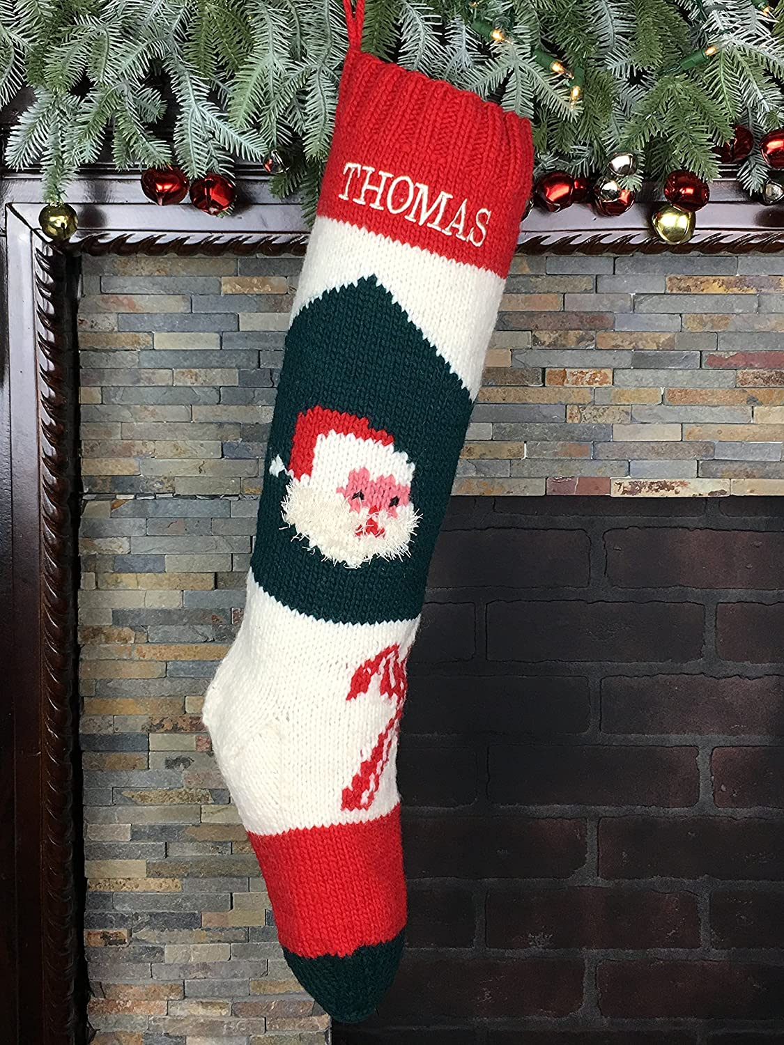 Amazon.com: Christmas Stocking Hand Knit With Optional ...