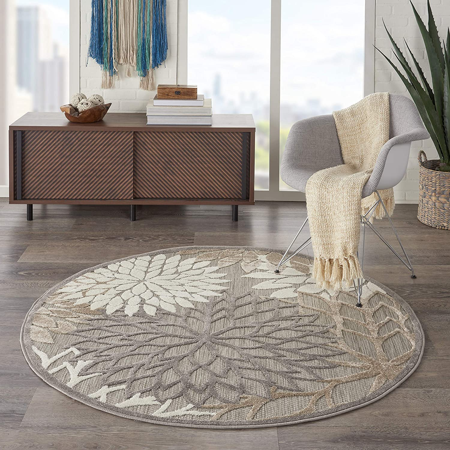 "Nourison Aloha Indoor/Outdoor Floral Natural 5'3"" x Area Rug (5' Round), XROUND"