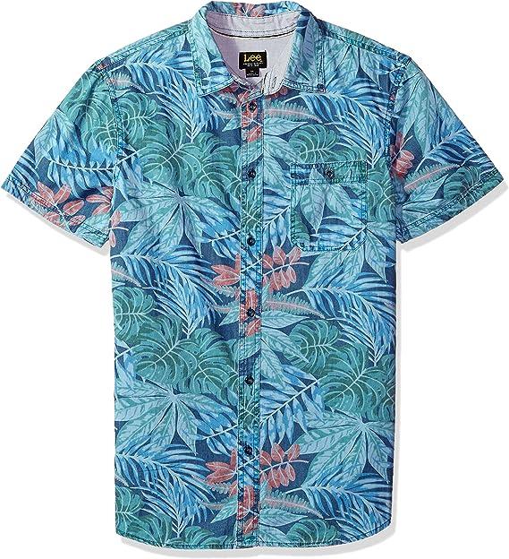 HEFASDM Men Striped Pockets Short-Sleeve Business Cotton Woven Shirt