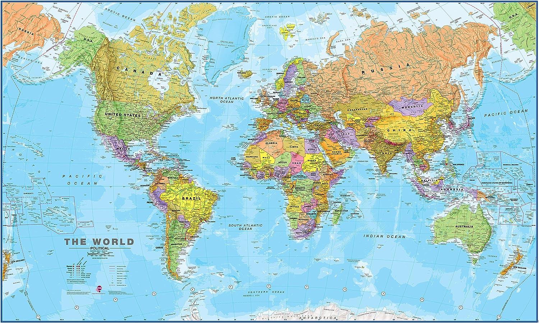 Maps International Giant World Map – Mega-Map of The World – Front Lamination - 78 x 46