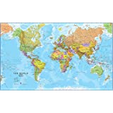 Giant World MegaMap, Huge Wall Map - Paper with front sheet lamination