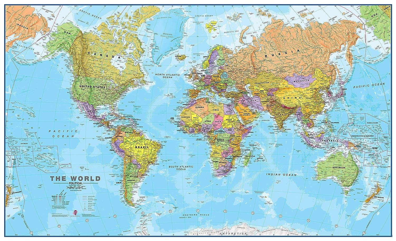 Amazon giant world megamap huge wall map paper with front amazon giant world megamap huge wall map paper with front sheet lamination wall art gumiabroncs Choice Image