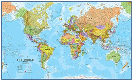 Amazon giant world megamap huge wall map paper with front giant world megamap huge wall map paper with front sheet lamination gumiabroncs Images