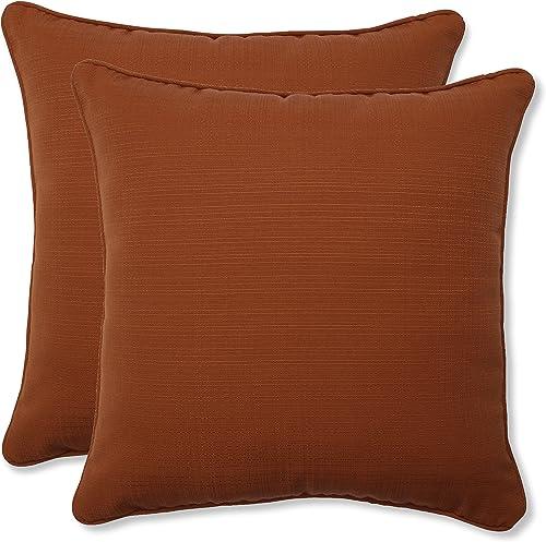 Pillow Perfect Outdoor Indoor Cinnabar Throw Pillows, 18.5 x 18.5 , Burnt Orange, 2 Pack