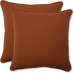 Pillow Perfect Outdoor Cinnabar Corded Throw Pillow, 18.5-Inch, Burnt Orange, Set of 2
