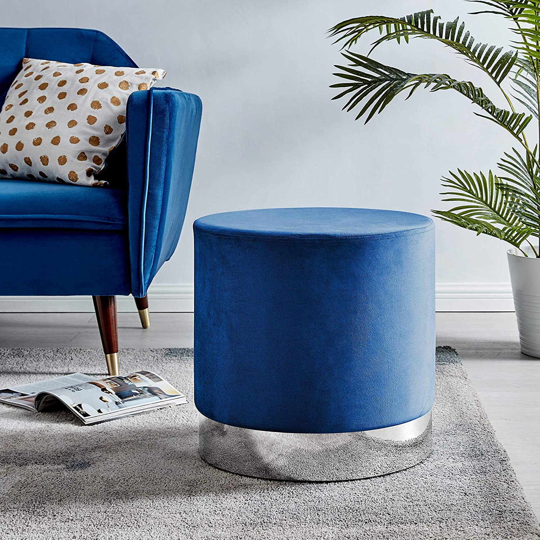 Furniturebox UK Como Soft Velvet Modern Grey//Blue//Pink Silver Chrome Banded Quality Trim Futon Footstall Ottoman Stool Blue Velvet And Silver Banded Stool
