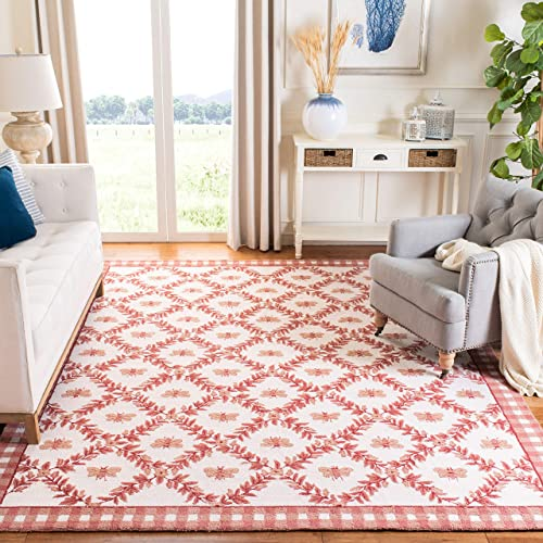 Safavieh Chelsea Collection HK55C Hand-Hooked Ivory and Rose Premium Wool Area Rug 8 9 x 11 9