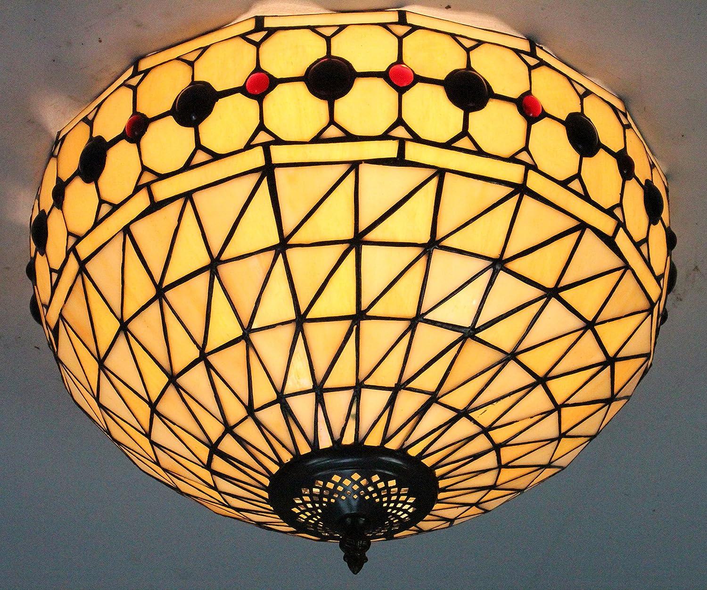 ETERN 16-Inch European Retro Style Stained Glass Flush Mount Ceiling Light Dining Room Light