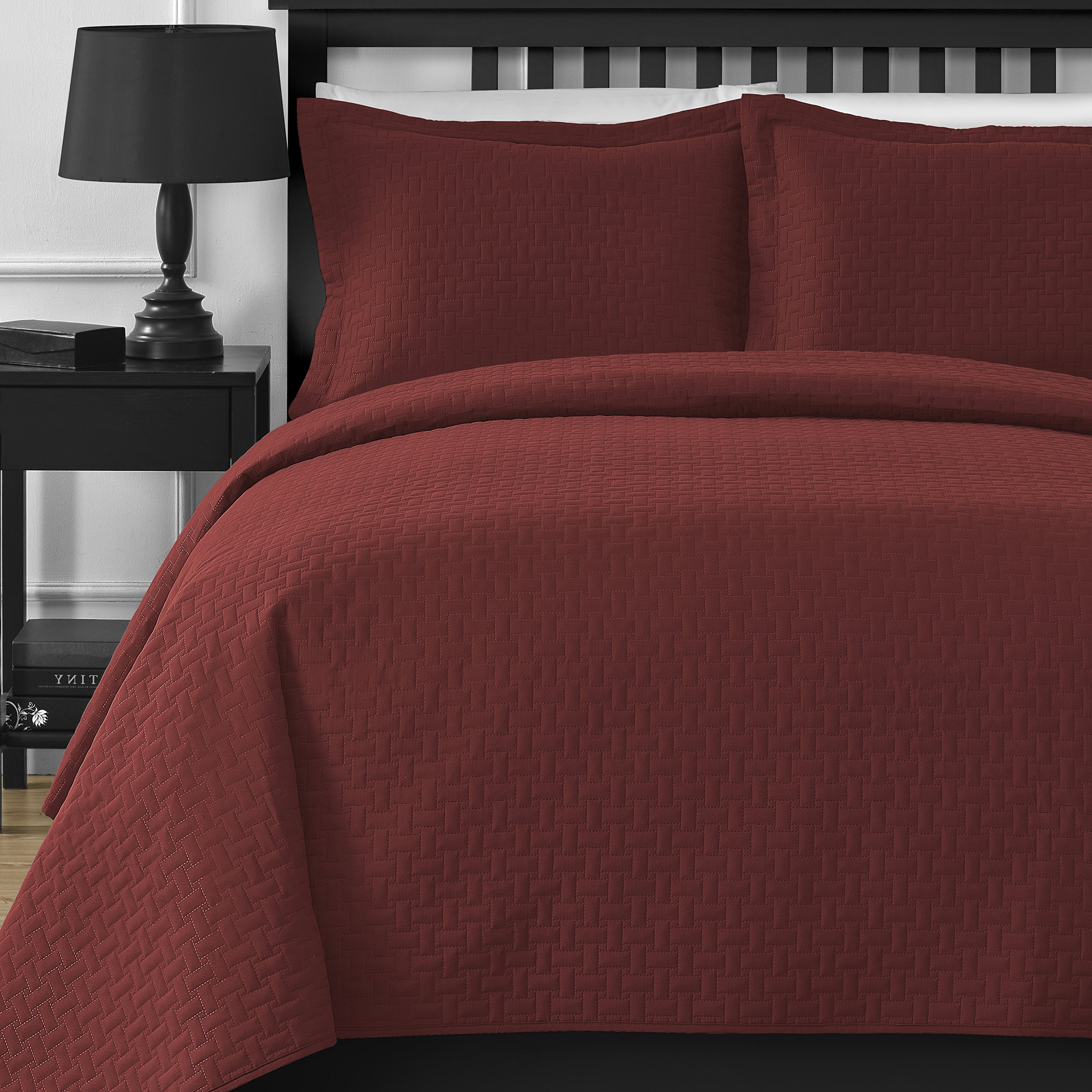 Extra Lightweight and Oversized Comfy Bedding Frame Embossing 3-piece Bedspread Coverlet Set (King/California King, Brick)