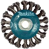 "Makita 1 Piece - 4 Inch Knotted Twist Wire Wheel Brush For Grinders - Heavy-Duty Conditioning For Metal - 4"" x 5/8-Inch 