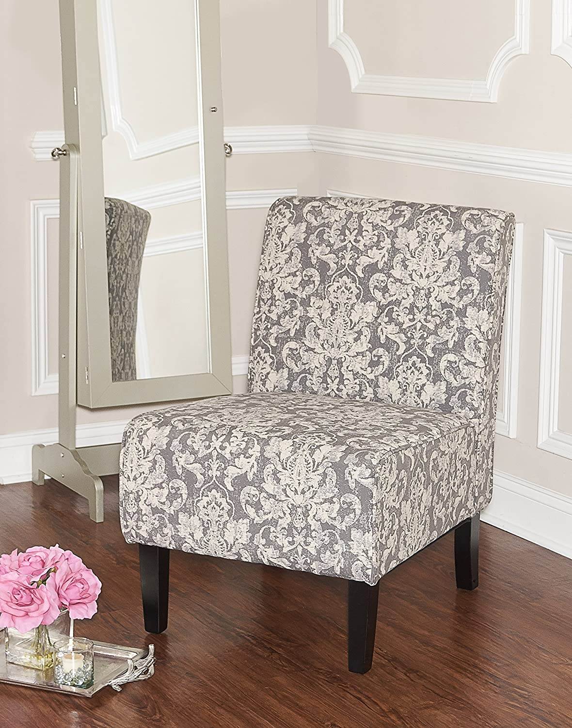 Linon Coco Accent Chair, Gray Damask