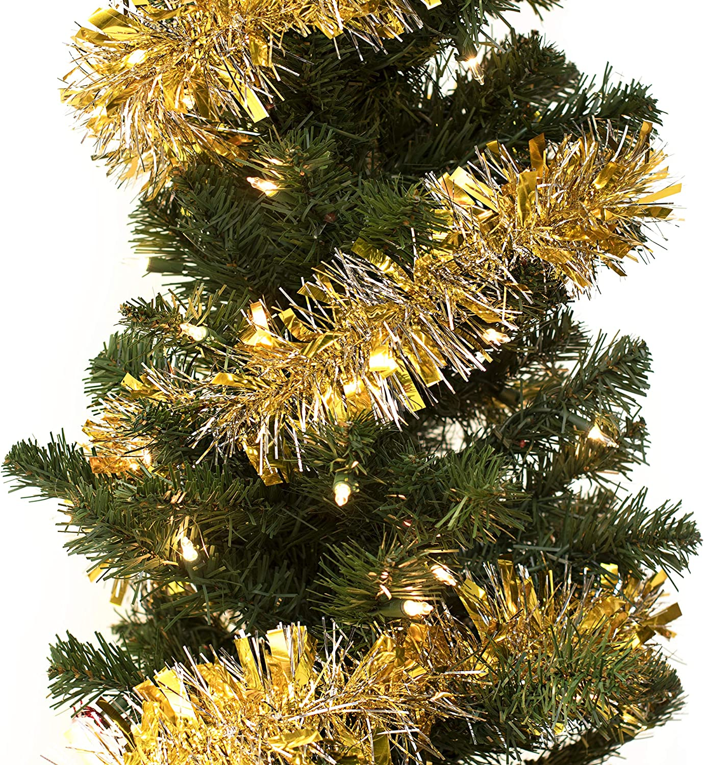 Andersons Black and Gold Metallic Tinsel Twist Garland 4 inches Wide x 25 ft Long