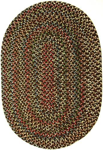 Katherine Multi Indoor Outdoor Oval Braided Rug, 4 by 6-Feet, Brown