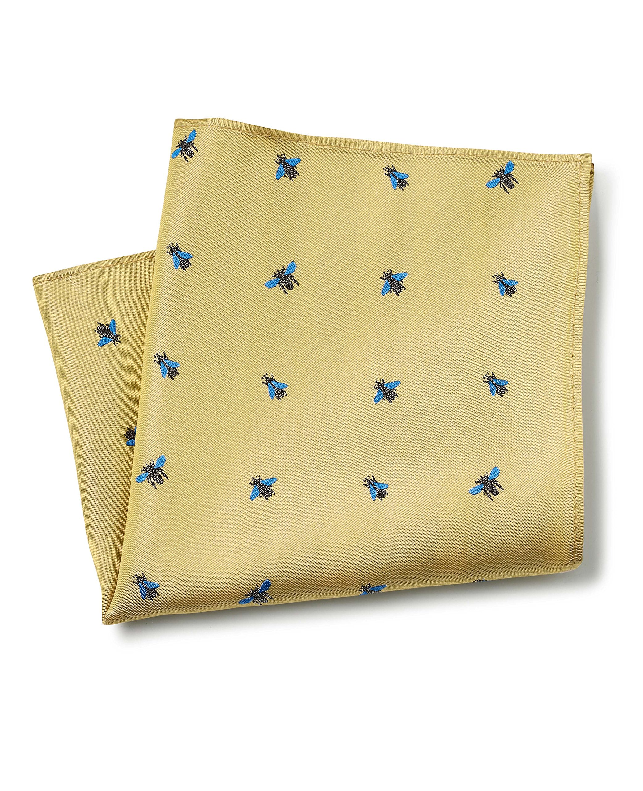 Savile Row Men's Yellow Blue Fly Pattern Silk Pocket Square