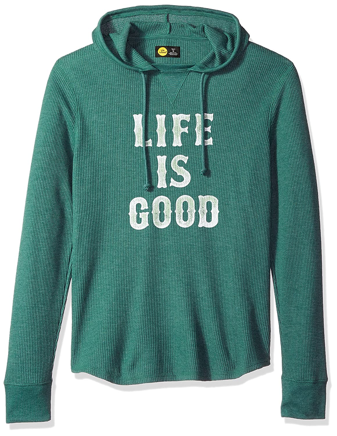 Life is Good Mens Waffle Lig Stacked Fstgrn Hoodie,