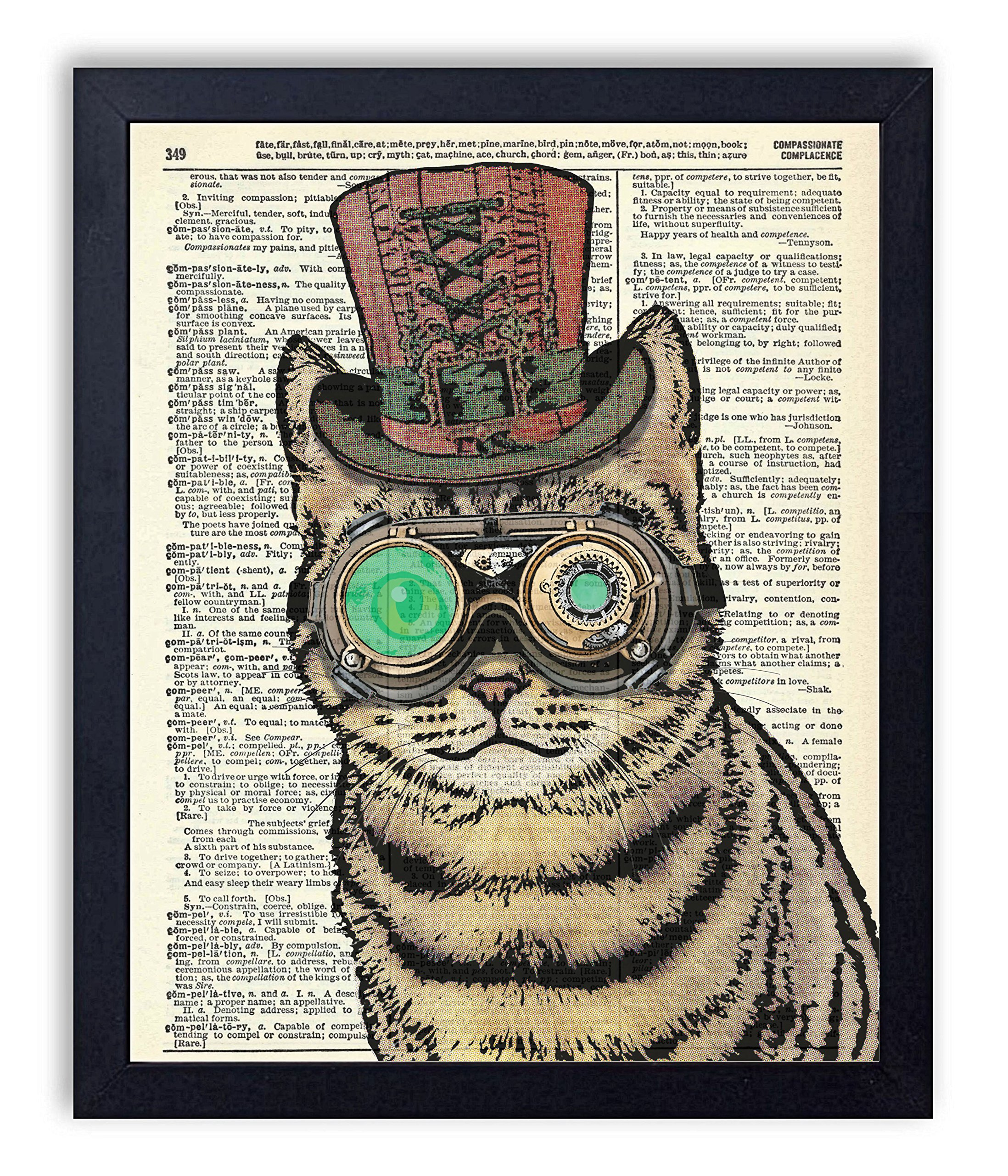 Edison The Steampunk Cat Vintage Wall Art Upcycled Dictionary Art Print Poster 8x10 inches, Unframed 3