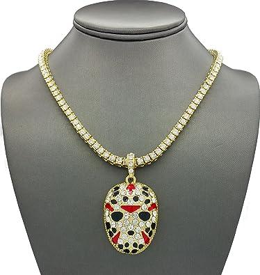 Shiny Jewelers USA Mens ICED Out Rapper MASK Hip HOP Pendant 24 quot  Box 2a0b09e77001