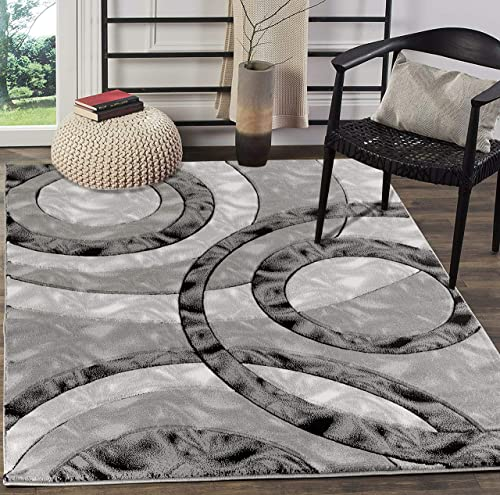 Glory Rugs Area Rug Modern 8×10 Grey Black Circles Geometry Soft Hand Carved Contemporary Floor Carpet Fluffy Texture