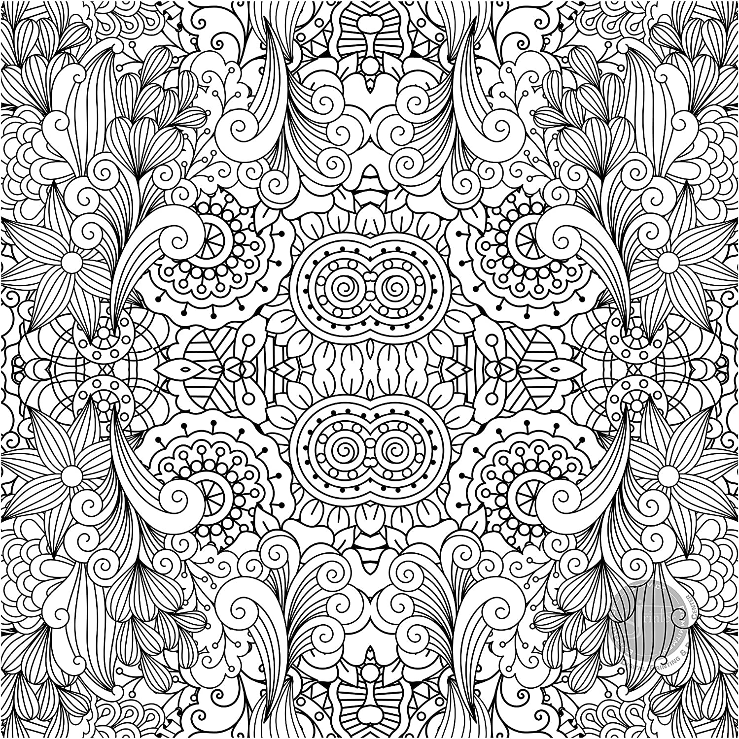 Giant Coloring Poster for Kids and Adults - Great for Care Facilities, Schools, Group and Family Activities (Square Flower Mandala, 30