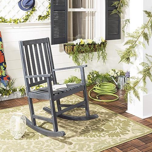Safavieh PAT6707K Outdoor Collection Barstow Grey Rocking Chair, Dark Slate Gray