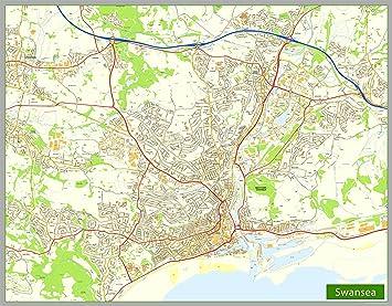 Swansea Street Map Paper Size 205 x 160 cm Amazoncouk Office